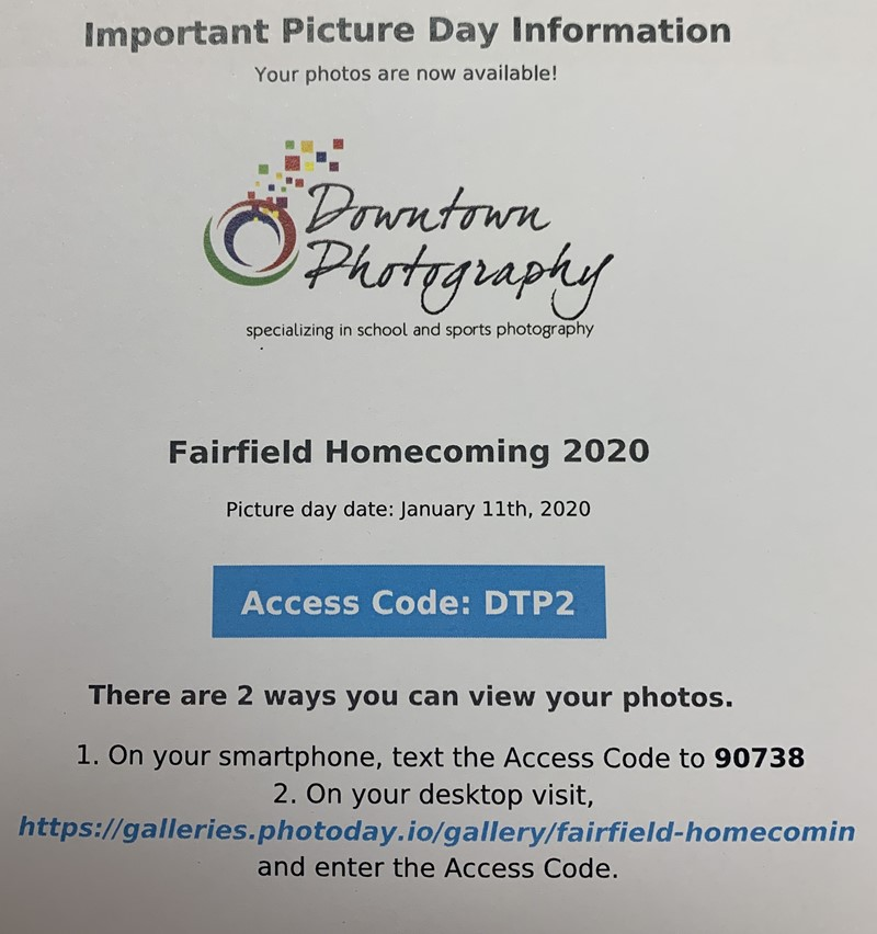 Hoco Picture Day Information
